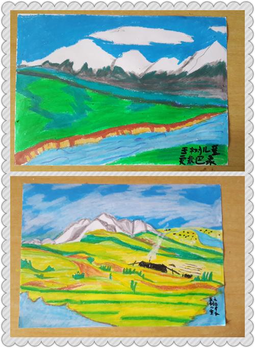 这是玉树孩子们画的家乡风景画,送给这位有爱心的匿名粉丝